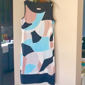 Sleeveless silk sheath dress